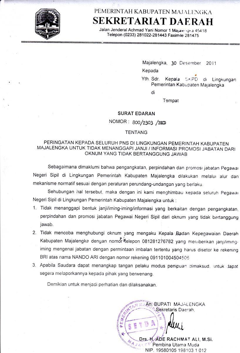 Surat Edaran Tidak Menanggapi Janjipromosi Jabatan Bkpsdm Majalengkakab Go Id