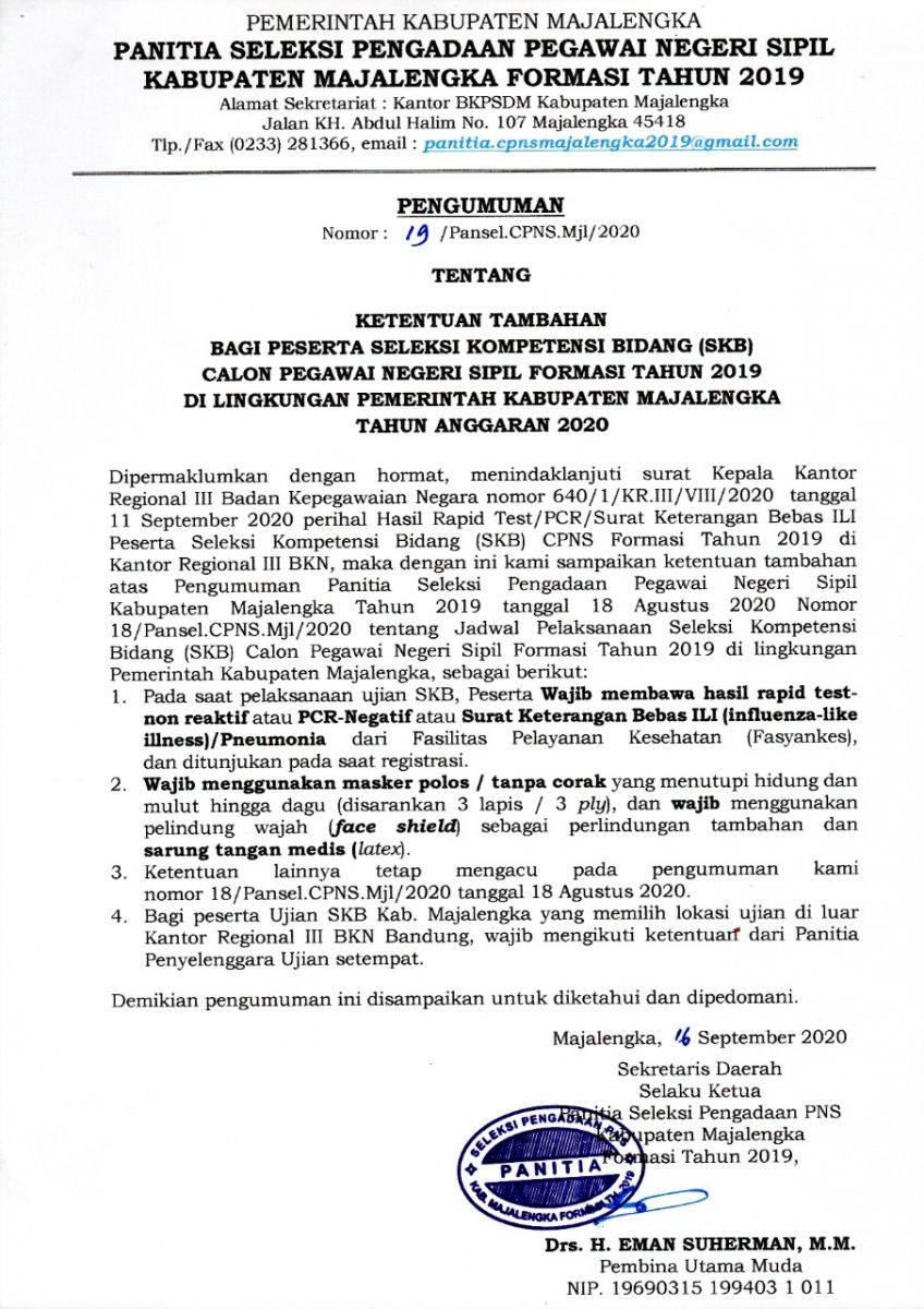 Ketentuan Tambahan Bagi Peserta Skb Cpns Formasi Tahun ...